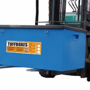 Forklift Truck picking up Tuffbox with Fork Feet